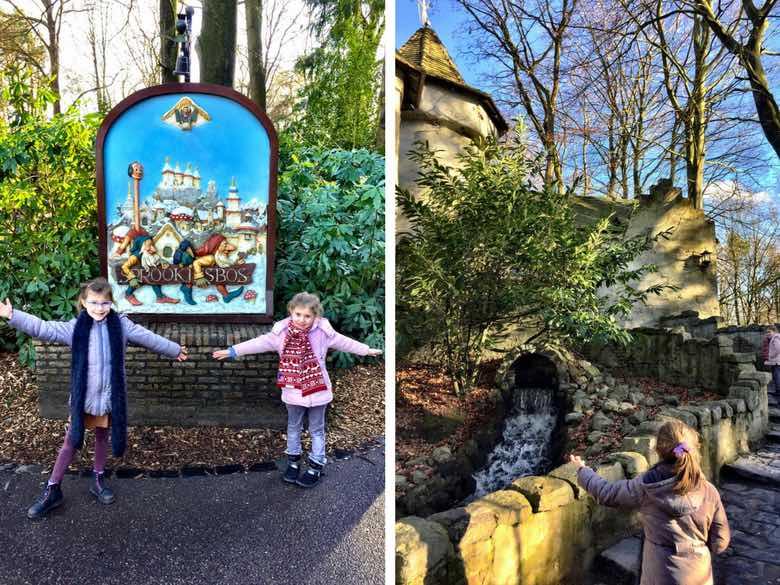Twee kleine meiden in het Efteling Sprookjesbos