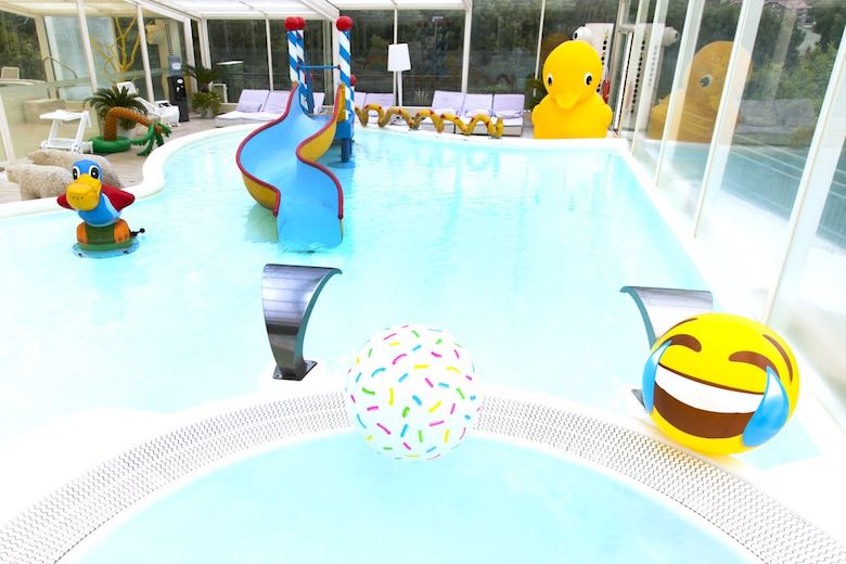 Kids pool Aqua Park at Augusta Spa Resort, one of 10 exquisite family-friendly luxury hotels in Spain