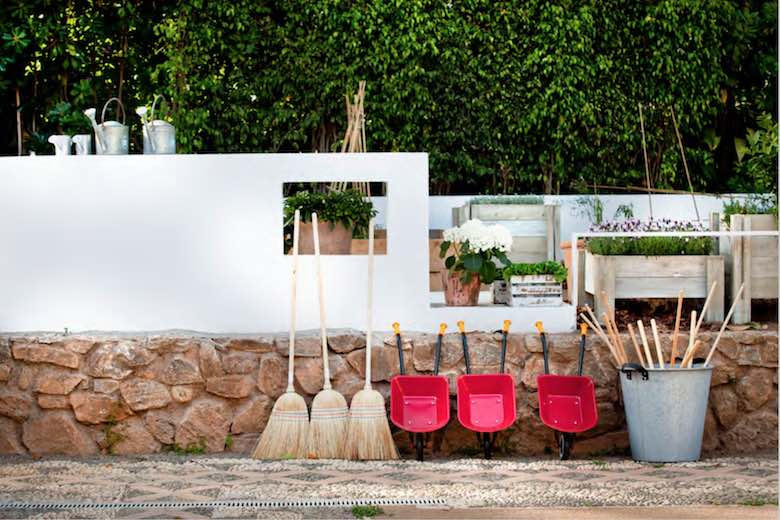 Gardener equipment at the kids club of Marbella Club Hotel, one of 10 exquisite family-friendly luxury hotels in Spain
