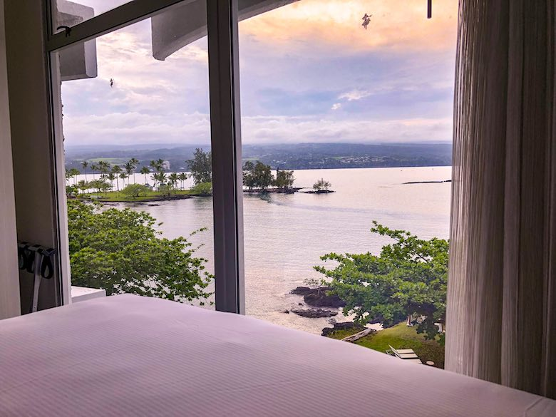 Lookout over Hilo bay from our room in the Grand Naniloa Resort