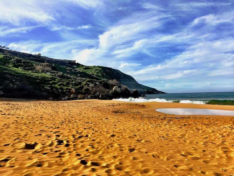 Ramla I-Hamra or Ramla Bay on Gozo island offers one of the best beaches in Malta