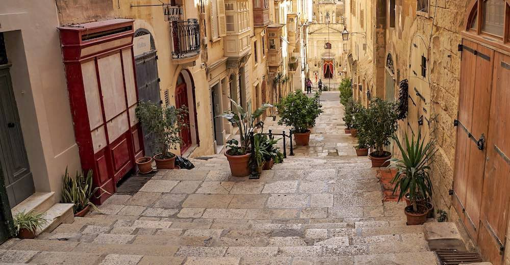 Staired streets in the hear of Valletta