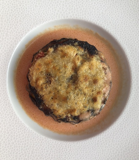 eggplant gratin with zucchini and parmesan at the La Véranda byGordon Ramsey restaurant in the Trianon Palace Versailles, a Waldorf Astoria Hotel