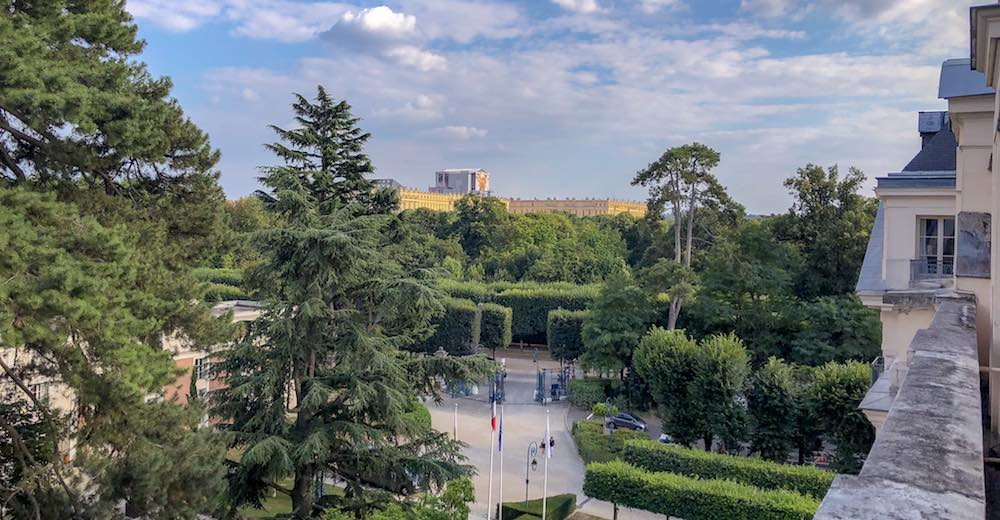 View from the Deluxe Palace Family Room with garden view at the Trianon Palace Versailles, a Waldorf Astoria hotel