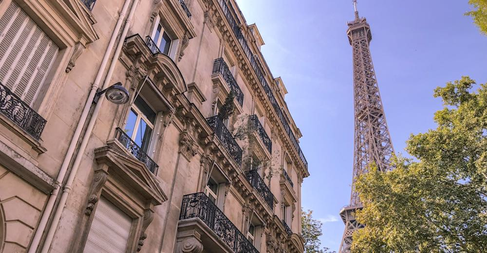Eiffel Tower views from the Rue De l'Université, a great photo stop on your Paris itinerary