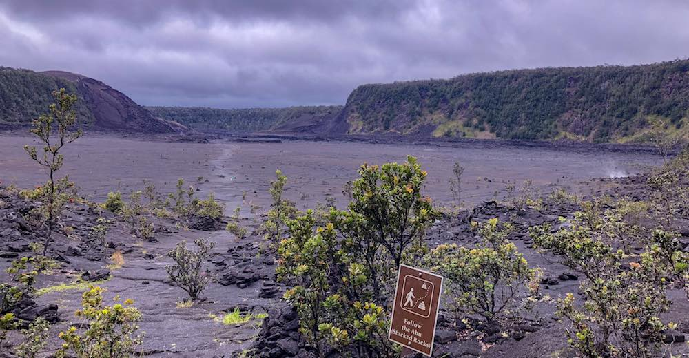 The Kilauea Iki Crater in Hawaii Volcanoes National Park