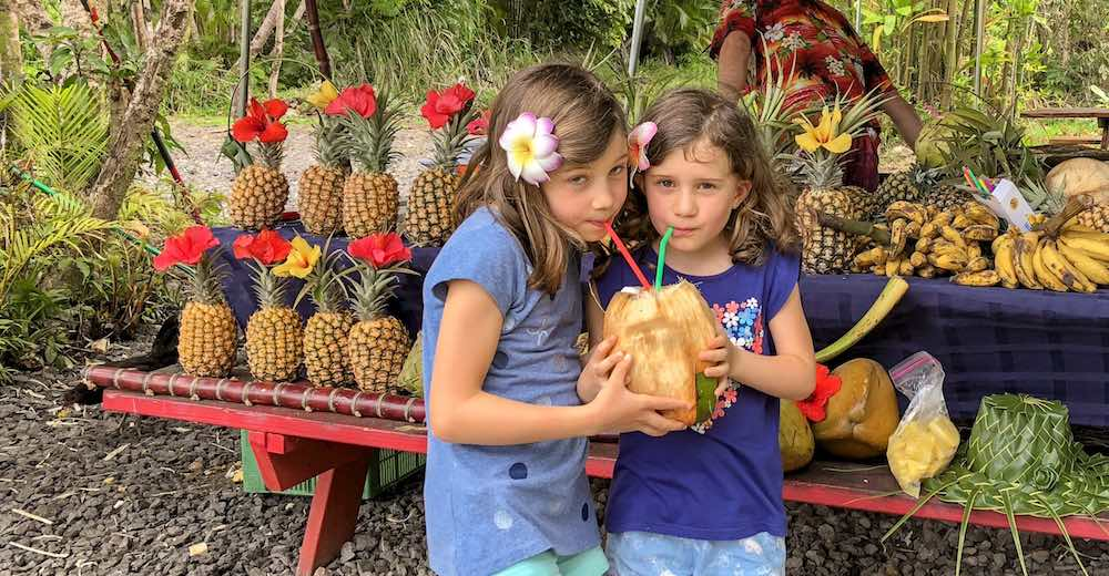 Two little girls drinking fresh coconut juice out of a coconut at a food stall near Akaka Falls State Park in Hilo