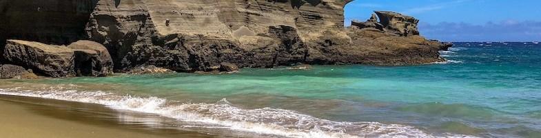 Best beaches Big Island Hawaii: White, green and black sand beach
