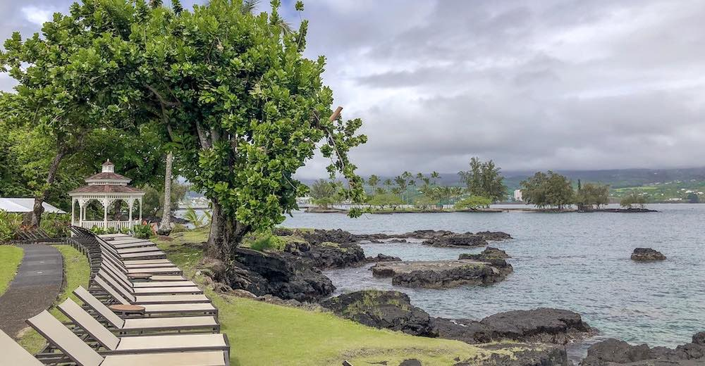 Black lava rock instead of sandy beach on the windward side, an important consideration when researching where to stay on Big Island Hawaii