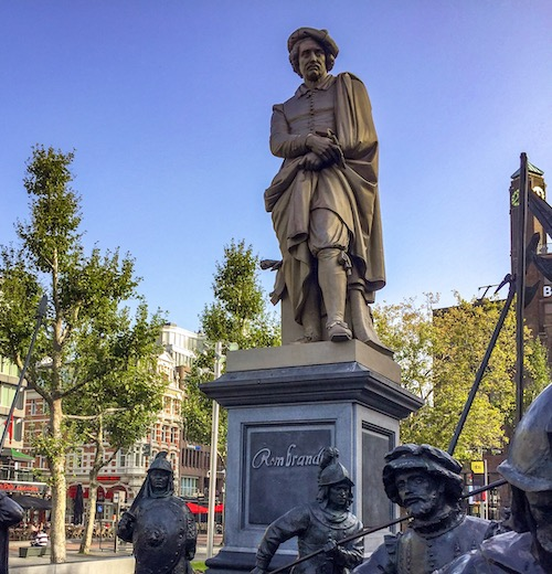 Statue of Rembrandt at Rembrandt Square in Amsterdam