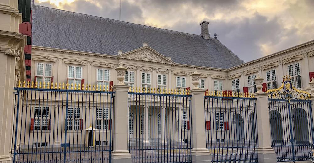 The Facade of Noordeinde Palace, where the king of the Netherlands had his office