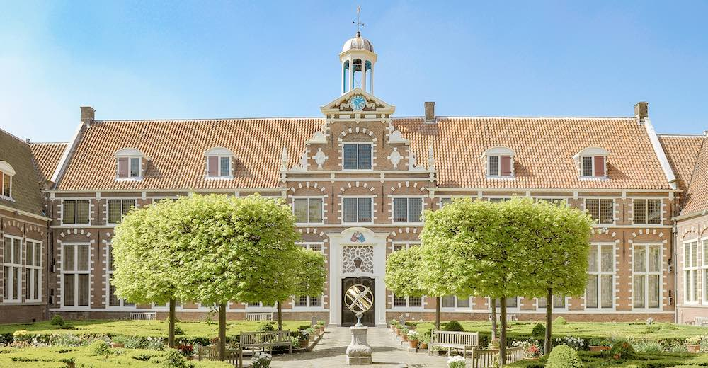 The courtyard of the Frans Hals museum, one of the best places to visit in Haarlem Netherlands