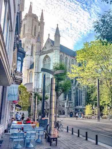 Side view of the St Bavo's Cathedral in Ghent