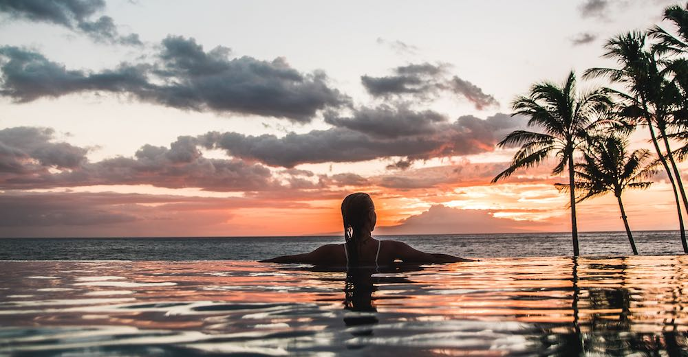 Sunset from the pool during a Maui honeymoon