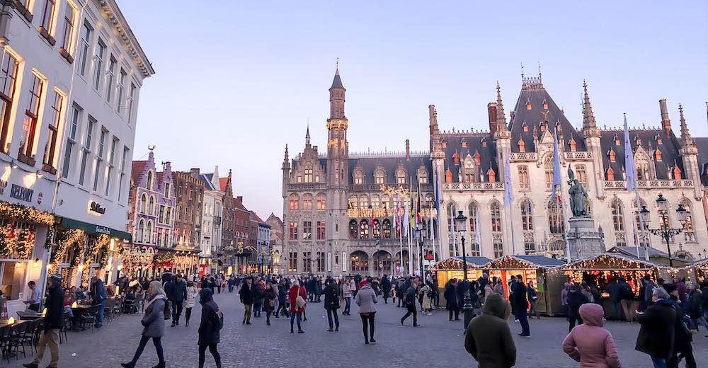Christmas market at Markt square in Bruges Belgium
