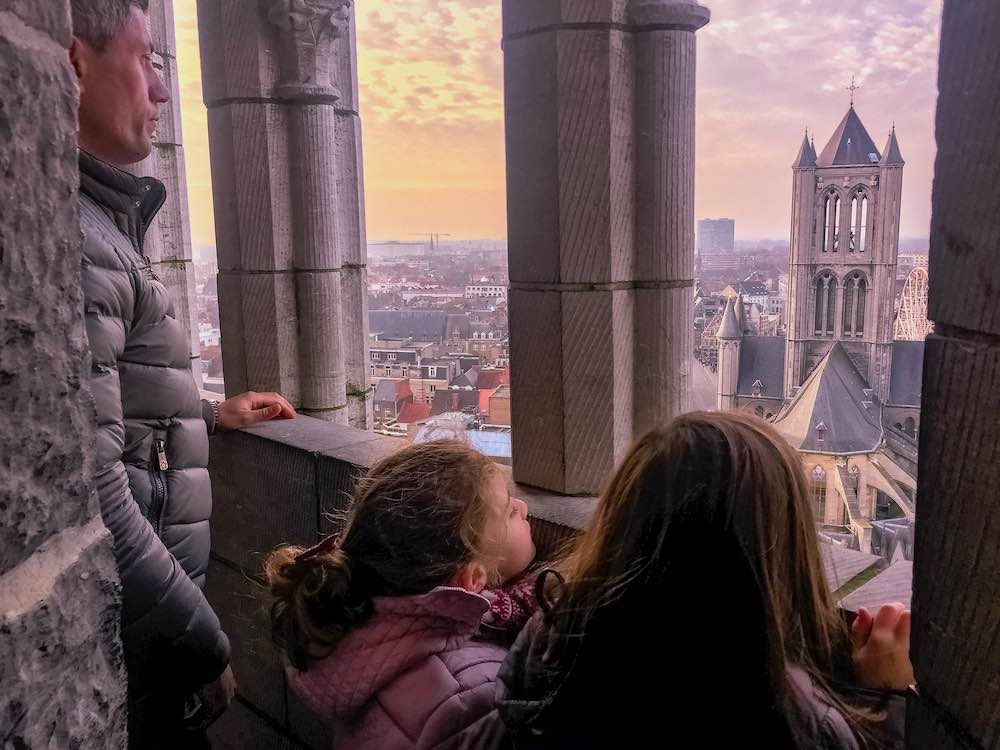 My husband and 2 girls enjoying the sunet views from the Belfry of Ghent, one of the best cities in Belgium