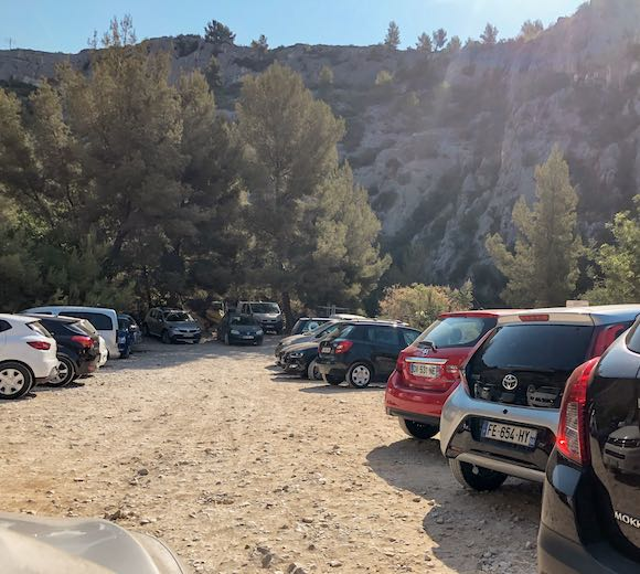 Cars in the parking lot at the Cassis Calanques in the morning