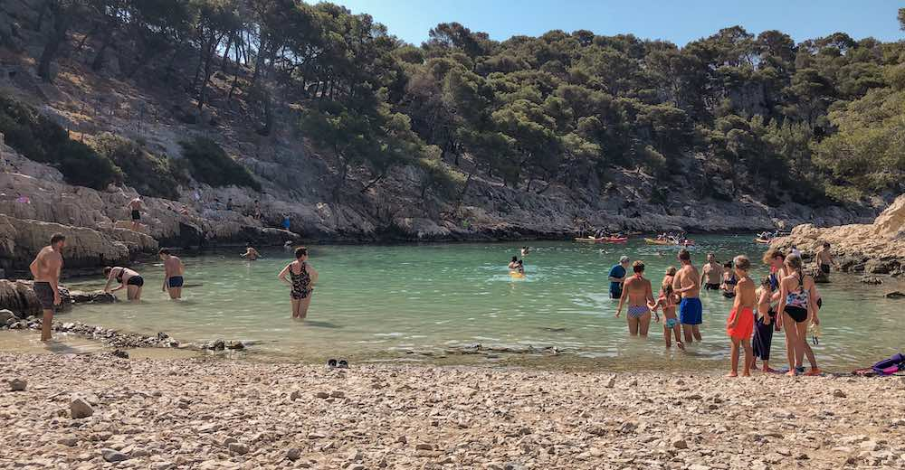 Crystal-clear waters at the Calanque de Port-Pin in Cassis, Provence
