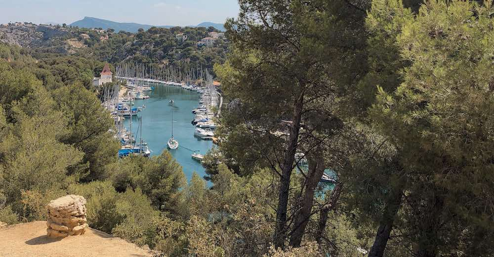 View of the Calanque de Port-Miou from atop the hill in Cassis Provence