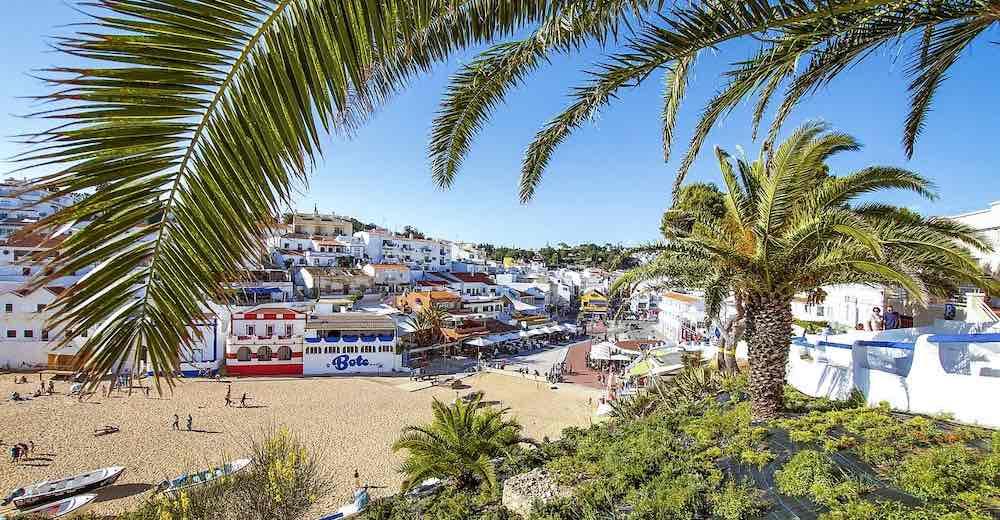 Postcard view over Carvoeiro Algarve Portugal