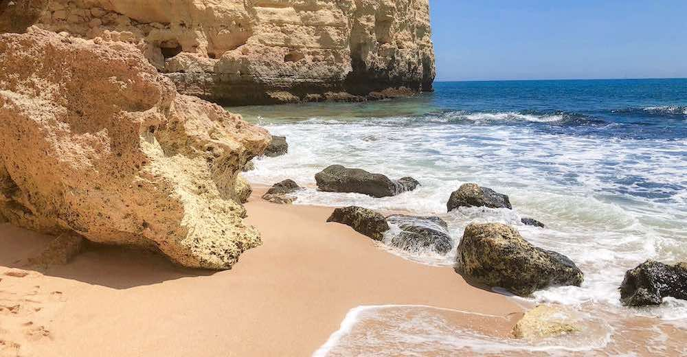 Praia do Vale de Centeanes or Vale de Centeanes in the Algarve Portugal Carvoeiro town