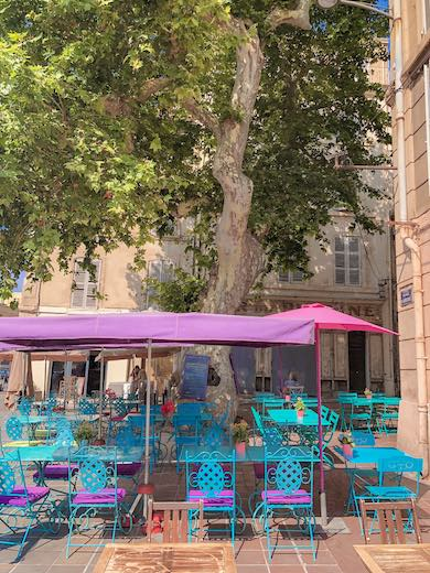 Colorful terrace in the heart of Le Panier Marseille France