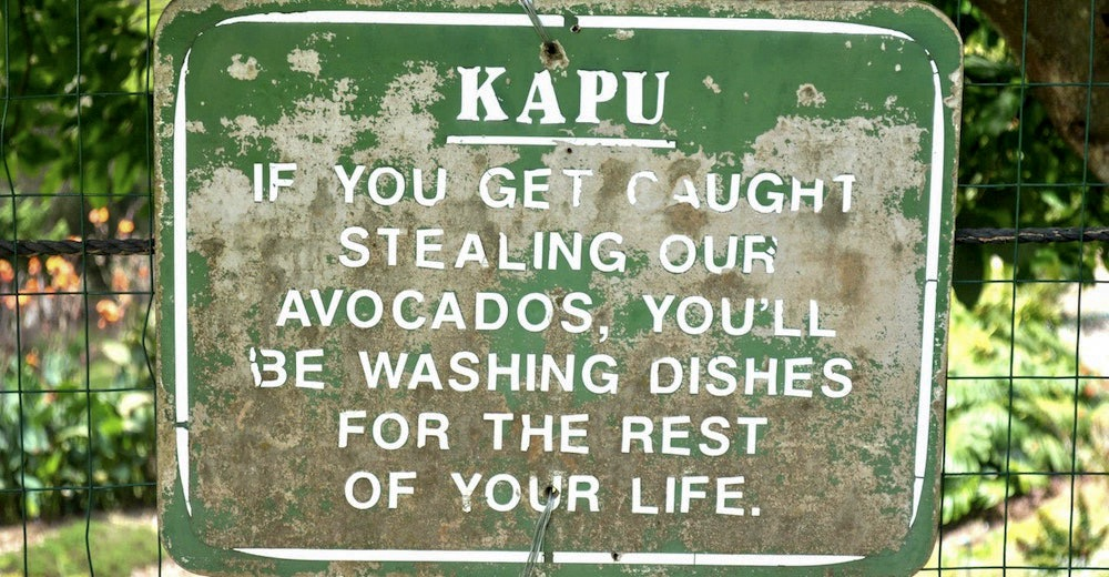 The English to Hawaiian translation for kapu is keep out, forbidden, no trespassing
