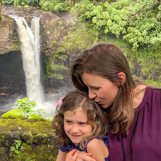 Mother and daughter at Rainbow Falls near Hilo