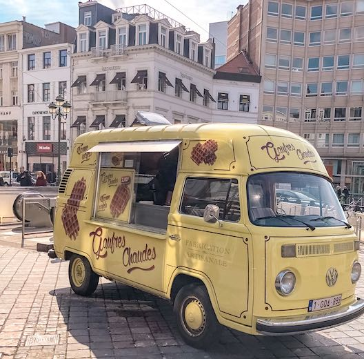 Food truck selling the famous Belgian waffle in Brussels