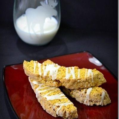 Pumpkin Biscotti with Cream Cheese Drizzle