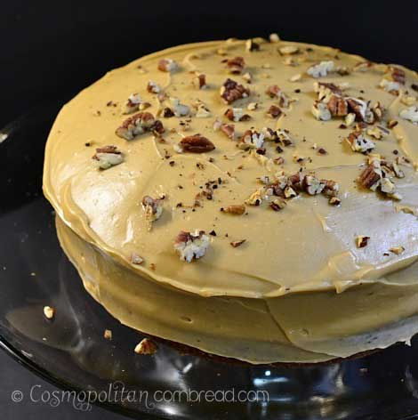 Nutmeg Cake with Apple Butter Filling and Caramel Frosting. You'll love this very different cake from Cosmopolitan Cornbread