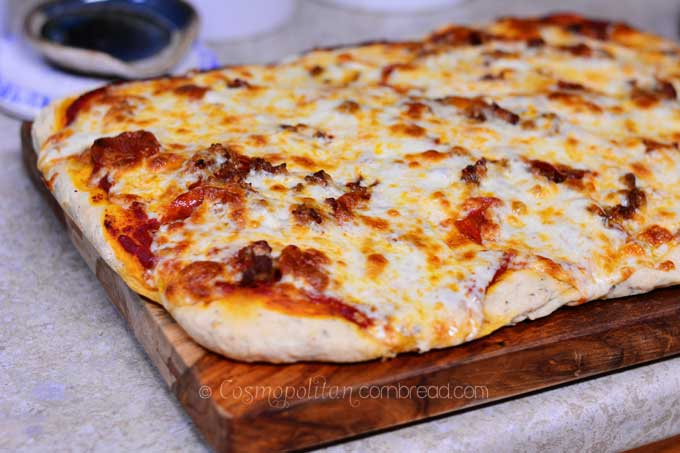 Delicious Homemade Pan Pizza from Cosmopolitan Cornbread