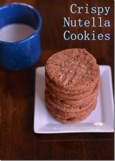 Crispy Nutella cookies - that classic chocolate and hazelnut flavor of Nutella in crispy form. Grab a glass of milk and enjoy a couple of these lovely cookies. Get the recipe from Cosmopolitan Cornbread