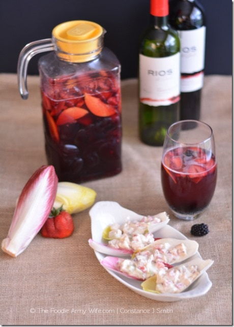Berry Sangria and Strawberry Chicken Salad in Endive Boats. Enjoy the freshness of summer with these perfect summer recipes. | The Foodie Army Wife - TheFoodieArmyWife.com