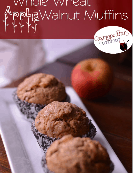 Whole Wheat Apple Walnut Muffins
