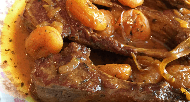 Spiced, Stewed Lamb Chops with Apricots