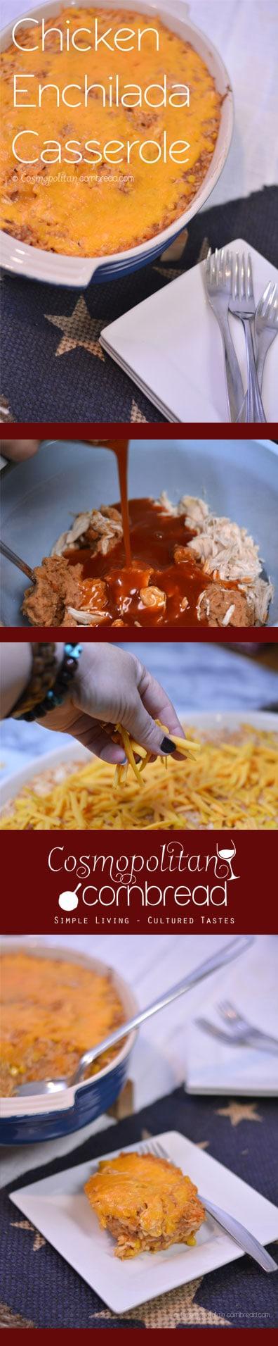 Chicken Enchilada Casserole - a budget friendly meal from Cosmopolitan Cornbread