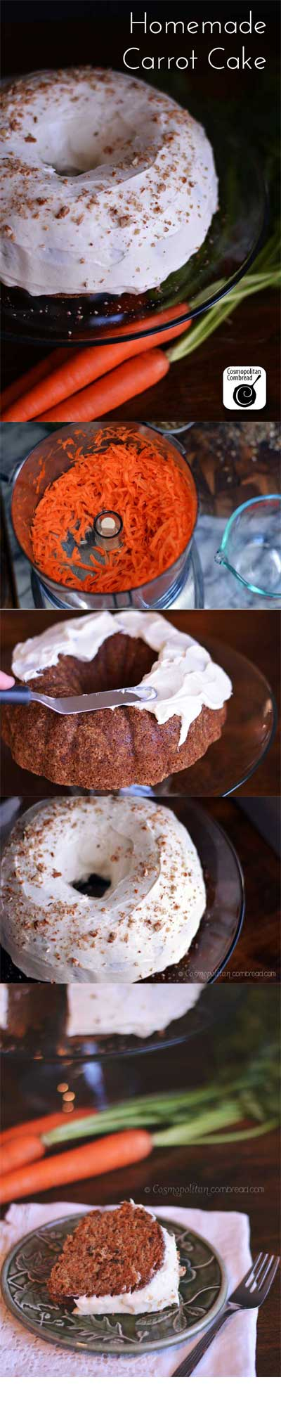 How to make classic Homemade Carrot Cake with Cream Cheese Frosting - from Cosmopolitan Cornbread