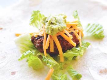 """No Mess"" Taco Burgers from Cosmopolitan Cornbread make taco eating easy for the kiddos."