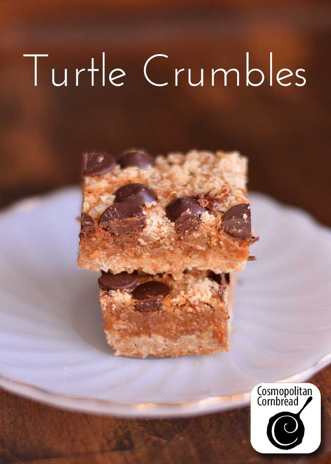 Ooey Gooey Turtle Crumbles from Cosmopolitan Cornbread. Get the recipe and make them today!