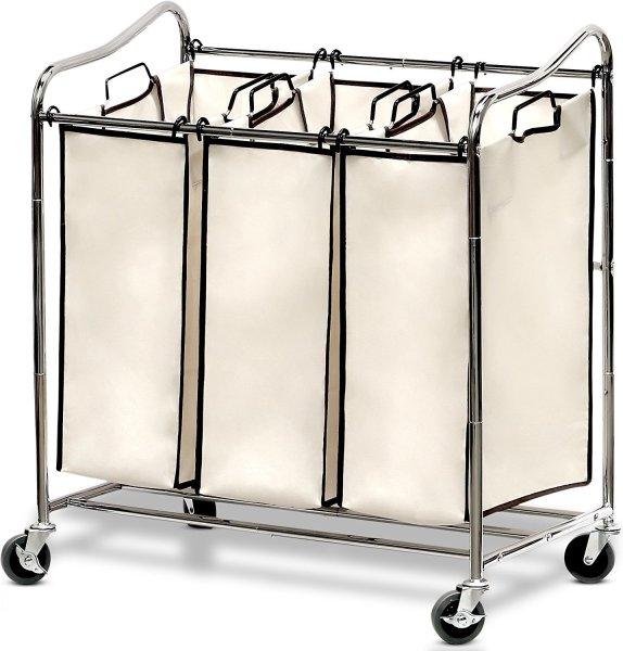 Triple rolling laundry cart