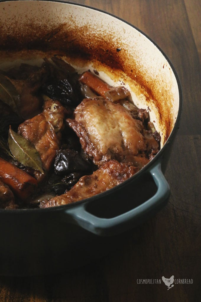 Boozy Bacon Stewed Rabbit - tender rabbit slow cooked with wine and herbs. Get this recipe from Cosmopolitan Cornbread