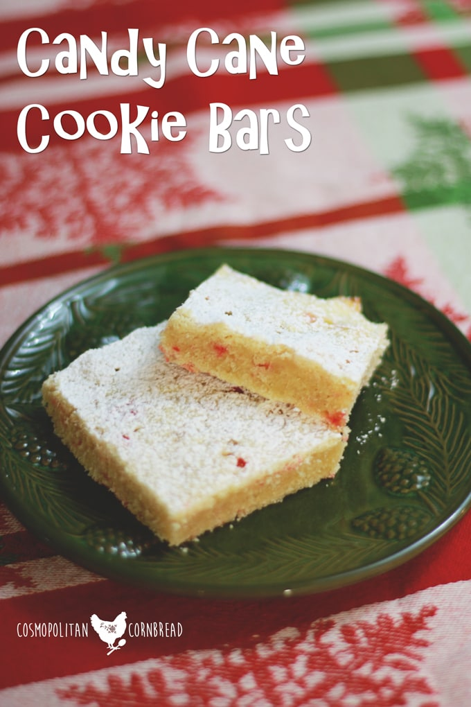 Candy Cane Cookie Bars - Put those Christmas candies to a great use with these Cookie Bars dotted with candy cane bits. Get the recipe from Cosmopolitan Cornbread.