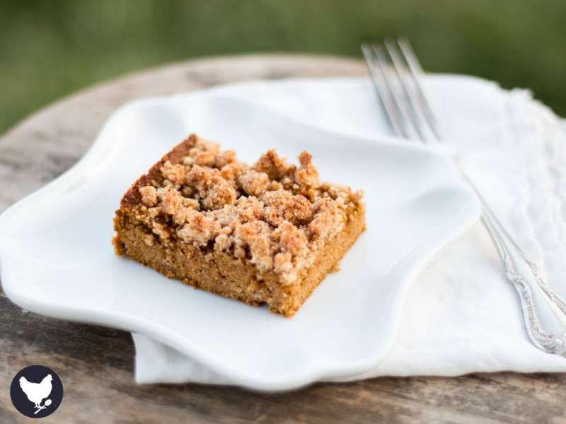 Paleo Pumpkin Crumb Cake - enjoying that favorite fall flavor yet still staying low carb & paleo! Get the recipe from Cosmopolitan Cornbread.