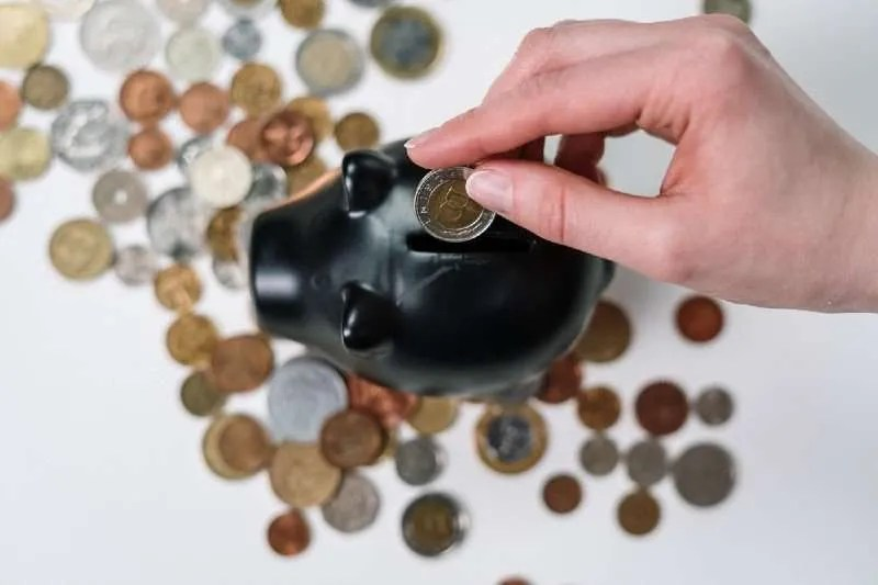 Person putting a coin in a piggy bank to grow her money.