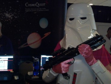Pink stormtrooper defends the science!