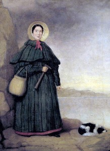 Portrait of Mary Anning with her dog Tray and the Golden Cap outcrop in the background, Natural History Museum, London.