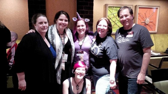 The CosmoQuest table crew. Photo from Nancy Graziano.