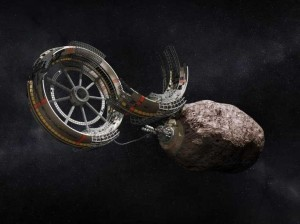 This image by Deep Space Industries depicts their non-fictional plans to turn asteroids into the food of future 3D printers.