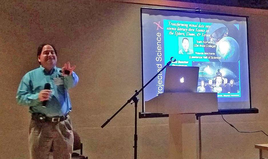 Dr. Patrick Durrell (CosmoQuest's self-described Crazy Uncle) giving his presentation at GLPA 2016.